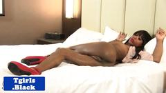 Black tgirl solo rubbing her candy stick