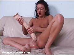 Brunette takes on huge toy
