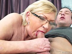 Grandma bent over and drilled hard