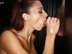 Brunette milf eva long sucking the cocks in gloryhole