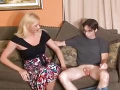 Mom gives  handjob