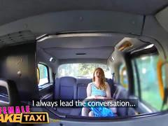 Female fake taxi wild lesbians share a massive dildo in thier wet pussies