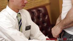 Mormon hunk cums tugging masturbation