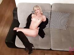 Seductive blonde masturbating