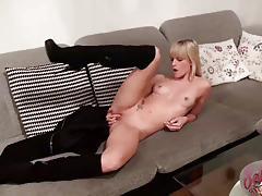 Seductive blonde masturbating