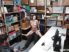 Girl sucks dick and fucks, after getting caught stealing