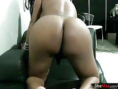 Full video of girly tranny exposing big boobs and black cock