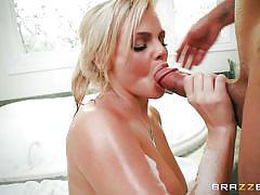 Round assed hottie sucks the masseurs hard cock