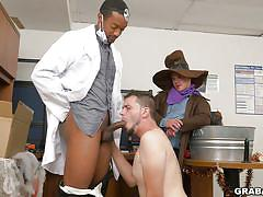 Hardcore gay threesome on the halloween party