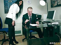 big tits, footjob, office, blowjob, eating pussy, undressing, on the table, black haired babe, big tits at work, brazzers, luke hardy, candi kayne