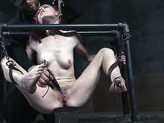 bdsm, babe, electro, hairy pussy, chains, nipple clamps, device bondage, metal bondage, infernal restraints, ivy addams