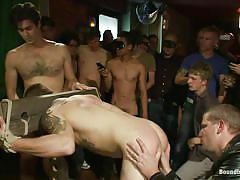 sex slave, public, blindfolded, bdsm, blowjob, group sex, anal, rimjob, device bondage, bound in public, kink men, trent diesel, mike martin