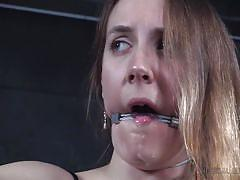 Gagged and restrained by her cruel master