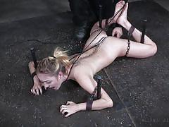 blonde, bdsm, babe, torture, handcuffs, chains, anal hook, device bondage, infernal restraints, iris rose