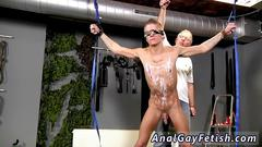 Nasty twink loves to be tortured by his old stupid master