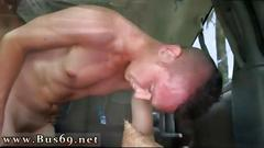 Adorable butt pirate drilled by a straight guy in the van