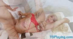 Massive boobs blonde shemale gets anal banged bareback