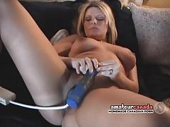 Blonde amateur toys her pussy