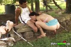 Handicapped man bangs sexy brunette with perky titties and round booty