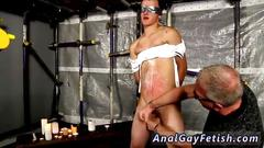 Nasty old master tortures his slave and sucks his cock