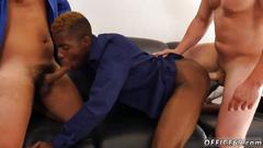 Kink office dudes have interracial gay threesome after work
