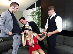 Surprise orgy for hot milf nina north and multiple creampies