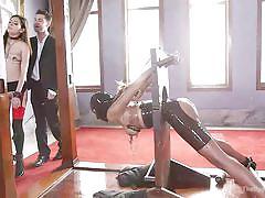 Slaves service the cruel master on the upper floor