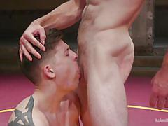 bdsm, wrestling, blowjob, muscular, fighting, tattooed, competition, naked kombat, kink men, tyler rush, jonah marx