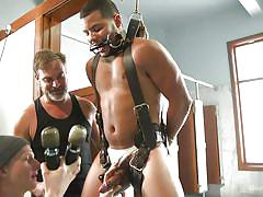 bdsm, handjob, interracial, threesome, blowjob, ebony, electric vibrator, men on edge, kink men, kaden alexander