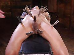milf, ebony, interracial, vibrator, fingering, tattooed, bondage device, ball gag, clothespins, rope bondage, hogtied, kink, skin diamond, the pope