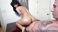 Big ass latina rides cock