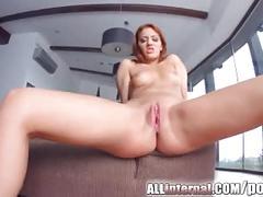 Allinternal redhead shows us her cum filled pussy