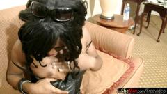 Good looking black hair tranny licks and sucks white shaft