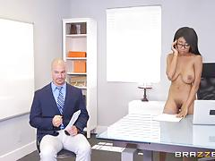 Naughty little boss britney white seduces employee