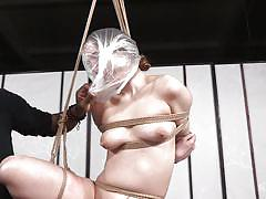 bdsm, babe, ebony, interracial, whipping, brunette, suspended, anal hook, plastic bag, rope bondage, hard tied, jack hammerx, sierra cirque