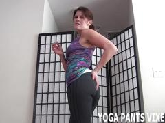 Watch my stretching out in my tight yoga pants joi