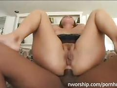 Hard anal fuck with big black dick slut brunette milf