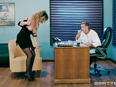 Alexis adams riding reverse cowgirl in the office