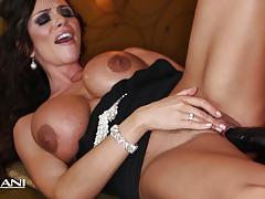 Sexy milf ariella ferrara rams a huge black dildo in her pussy
