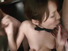 Asian enjoys gangbang