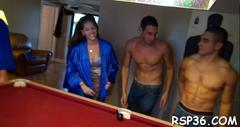 Nasty porn sluts are ready for group sex after a game of pool