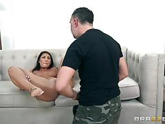 Smoking hot brunette august ames riding on a big dick