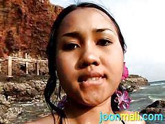 Stunning joon masturbates on the beach
