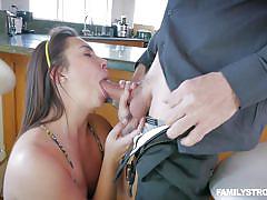 Horny girl sucks her stepdad's cock