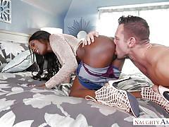 Ebony babe fucked by white stud