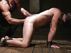 Sexy hunk gets tied up and ass fucked
