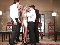 Blonde princess sucks cocks in a gangbang