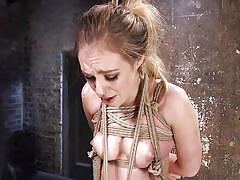 blonde, bdsm, babe, suspended, electric wand, rope bondage, electric vibrator, hogtied, kink, the pope, lyra law