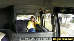 Redhead taxi brit fingered and pussylicked