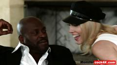 Blonde starlet lily lebeau rides and sucks monster black dick